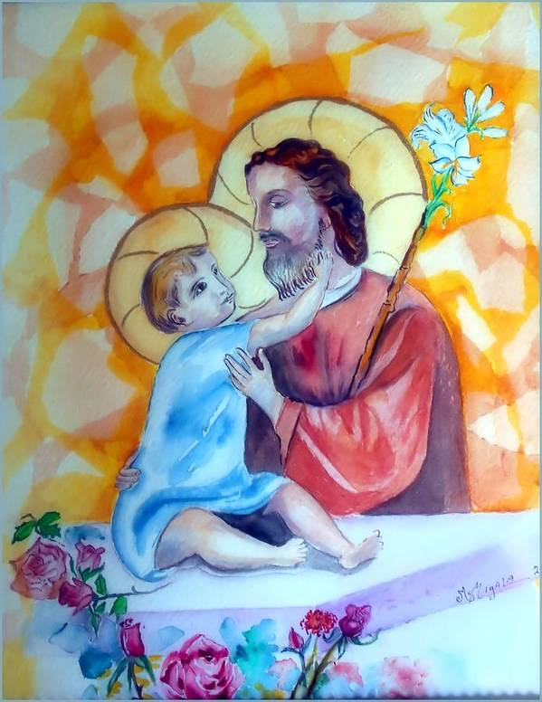 Catholic Art Poster featuring the painting Baby Jesus by Myrna Migala