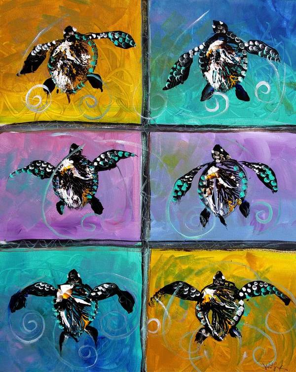 Sea Turtles Poster featuring the painting Baby Sea Turtles Six by J Vincent Scarpace