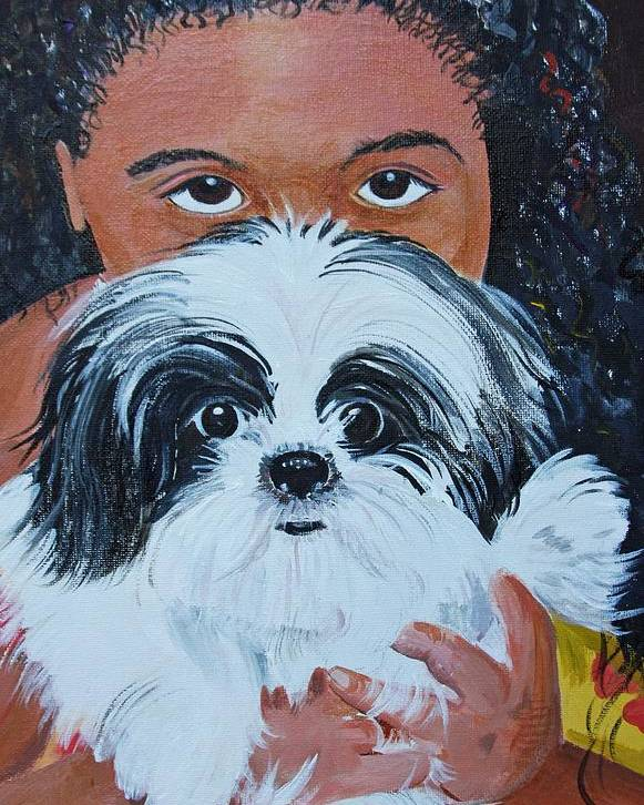 Pet And Owner Poster featuring the painting Bandit And Me by Peggy Patti