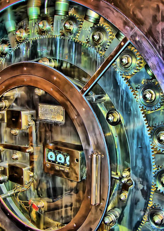 Bank Poster featuring the photograph Bank Vault Door by Clare VanderVeen