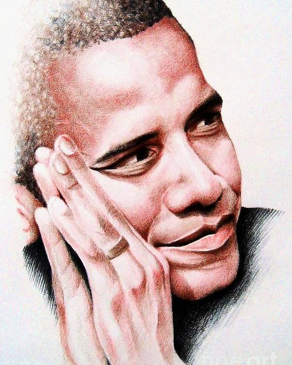 Portrait Poster featuring the painting Barack Obama by A Karron