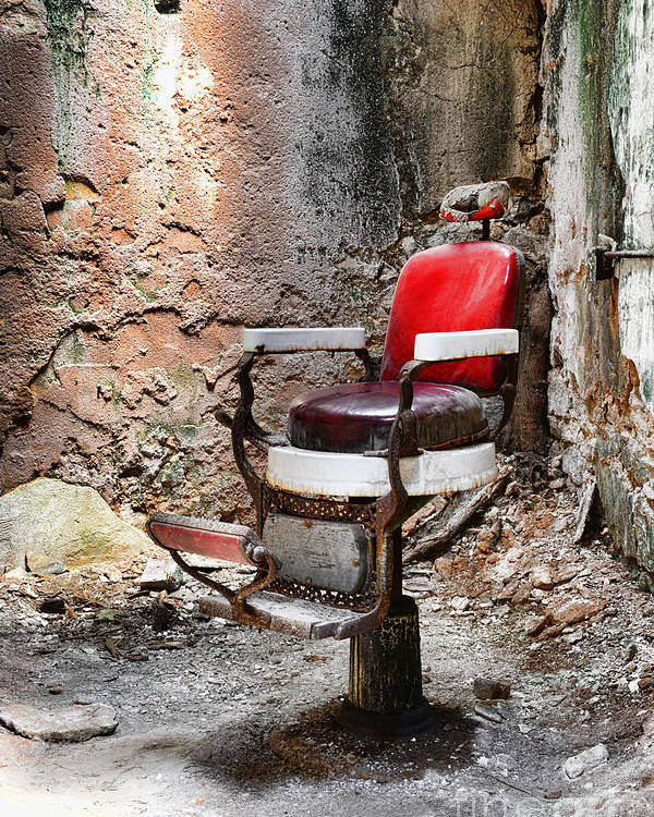 Eastern State Penitentiary Poster featuring the photograph Barber Chair by Paul Ward