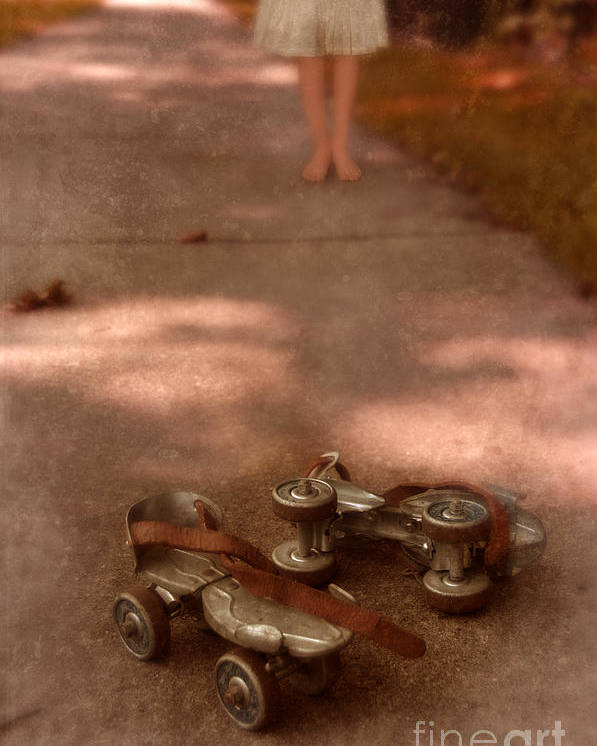 Barefoot Poster featuring the photograph Barefoot Girl On Sidewalk With Roller Skates by Jill Battaglia