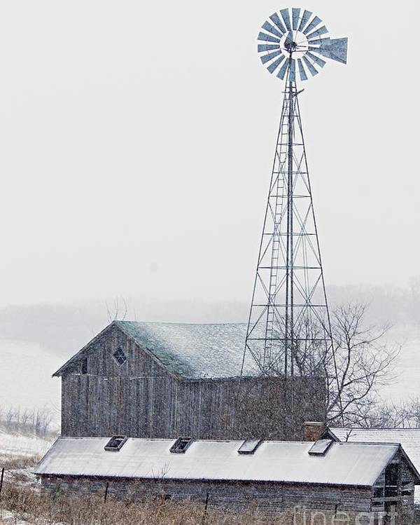Photography Poster featuring the photograph Barn And Windmill In Snow by Larry Ricker