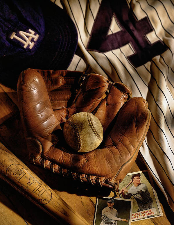 Glove Poster featuring the photograph Baseball by Bob Nardi