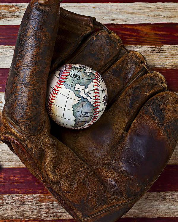 Folk Art American Flag Poster featuring the photograph Baseball Mitt With Earth Baseball by Garry Gay