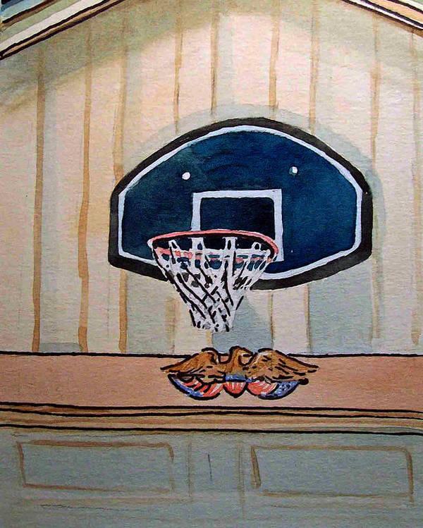 Basketball Poster featuring the painting Basketball Hoop Sketchbook Project Down My Street by Irina Sztukowski