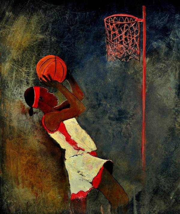 Sports Poster featuring the painting Basketball Player by Pol Ledent