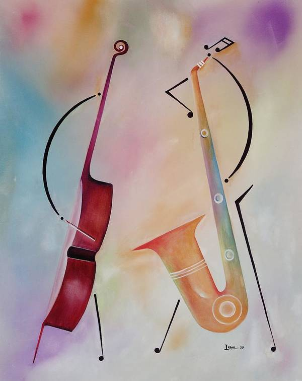 Duet Poster featuring the painting Bass And Sax by Ikahl Beckford