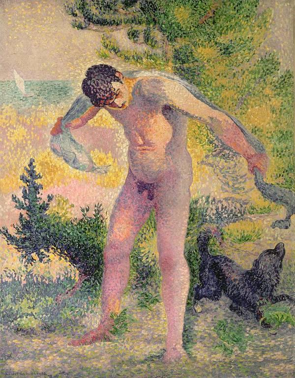 Bather Drying Himself At St. Tropez Poster featuring the painting Bather Drying Himself At St Tropez by Henri-Edmond Cross