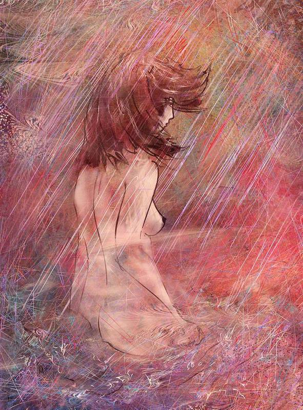 Woman Poster featuring the digital art Bathing In The Rain by Rachel Christine Nowicki