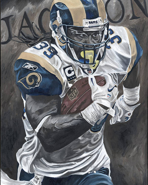 Steven Jackson St Louis Rams Running Back Sports Art David Courson Football Nfl Poster featuring the painting Battering Ram by David Courson