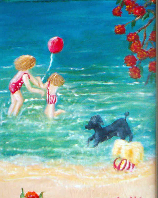 Mother Poster featuring the painting Beach II by Jo Roffe