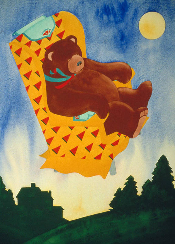 Fantasy Poster featuring the painting Bear Loved Flying Over The Forest In His Favorite Chair by Irene Hipps