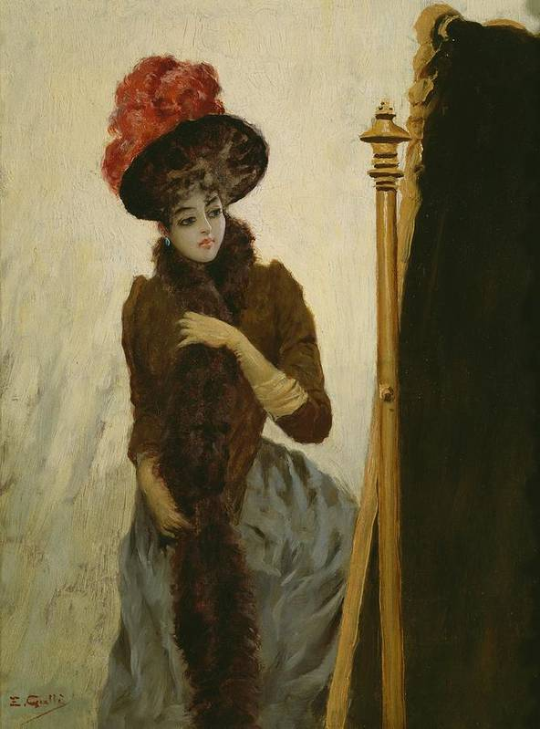 Female; Portrait; Standing; Three-quarter Length; Feathered; Hat; Feather; Feathers; Fashion; Fashionable; Stylish; Looking; Cheval Glass; Belle Epoque; Portraits Poster featuring the painting Before The Swing Mirror by Emile Galle