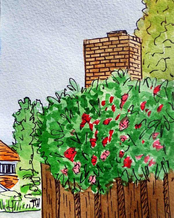 Chimney Poster featuring the painting Behind The Fence Sketchbook Project Down My Street by Irina Sztukowski