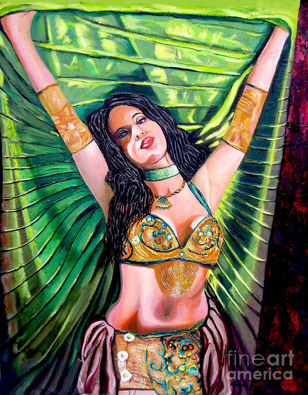 Girl Poster featuring the painting Belly Dancer by Jose Manuel Abraham