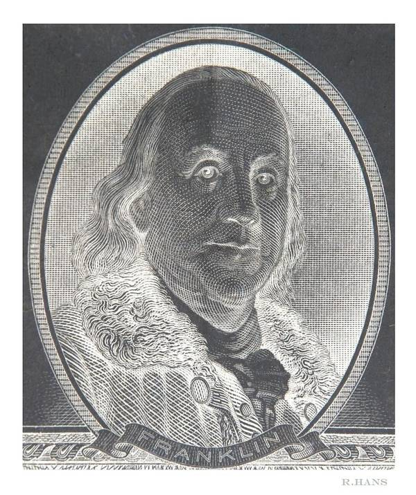 Ben Franklin Poster featuring the photograph Ben Franklin In Negative by Rob Hans