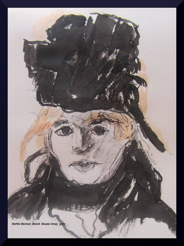 Pen And Ink Poster featuring the painting Berthe Morisot by Gary Kirkpatrick