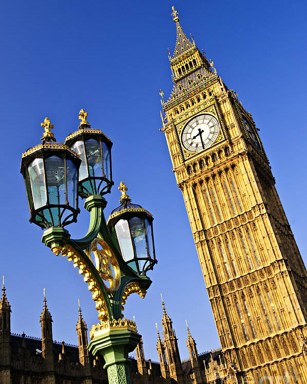 Big Poster featuring the photograph Big Ben And Palace Of Westminster by Elena Elisseeva