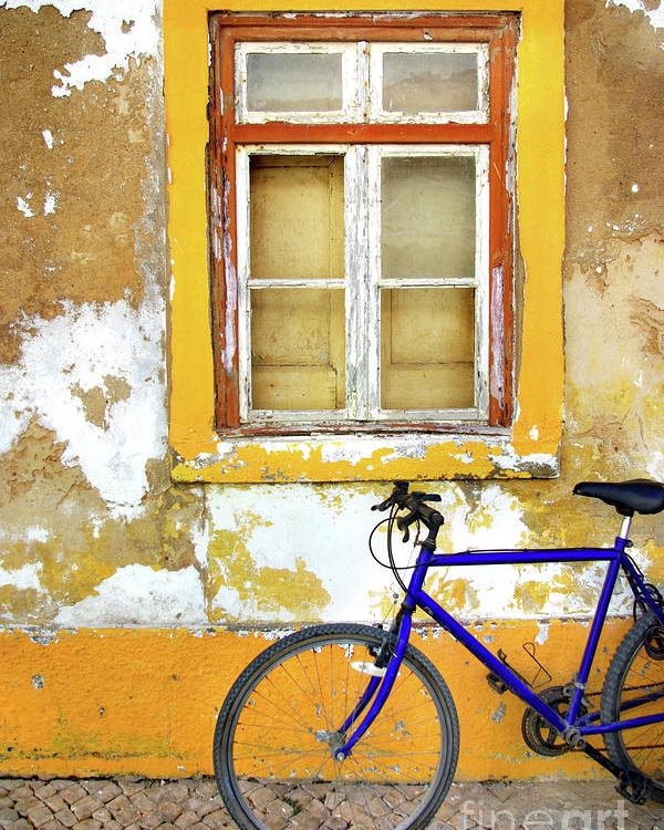 Aged Poster featuring the photograph Bike Window by Carlos Caetano