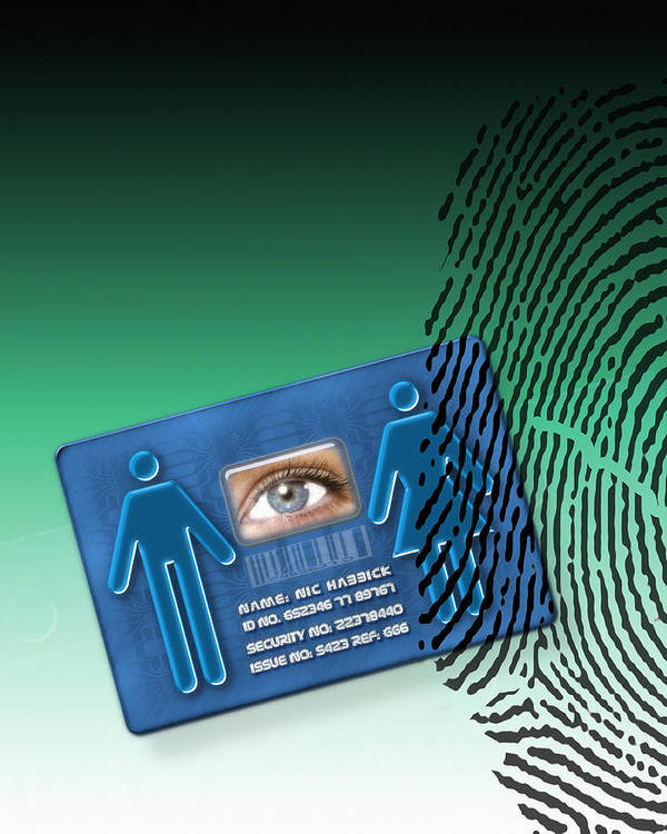 Technology Poster featuring the photograph Biometric Id Card by Victor Habbick Visions