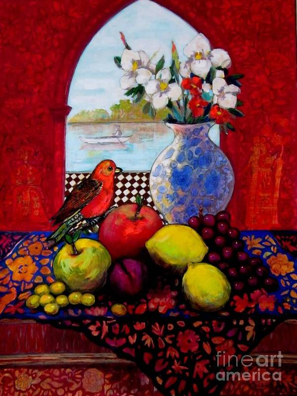 Fruits Poster featuring the painting Bird And Stil Life by Marilene Sawaf