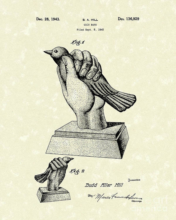 Bird Poster featuring the drawing Bird In The Hand Coin Bank 1943 Patent Art by Prior Art Design