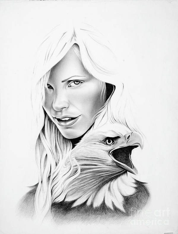 Beautiful Women Poster featuring the drawing Bird Of Prey by Bryan Knudsen