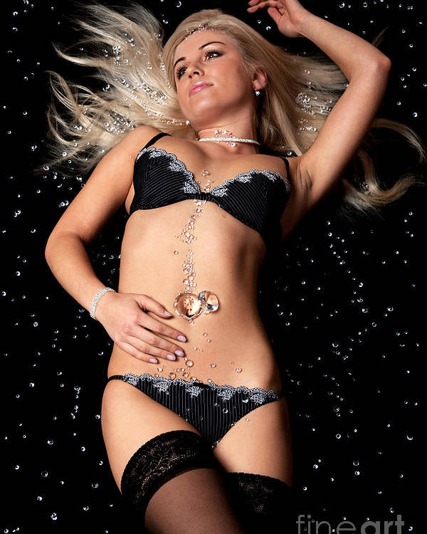 Diamonds Poster featuring the photograph Blond In Black Lingerie Covered In Diamonds by Richard Thomas