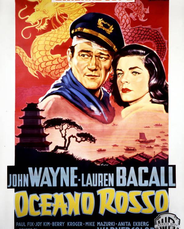 1950s Poster Art Poster featuring the photograph Blood Alley, John Wayne, Lauren Bacall by Everett