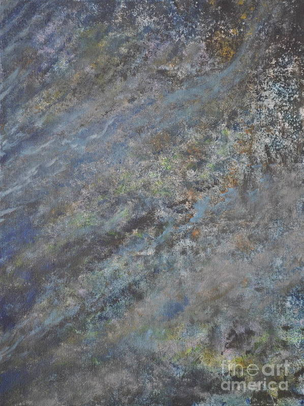 Blue Abstract Poster featuring the painting Blue Nebula #2 by Penny Neimiller
