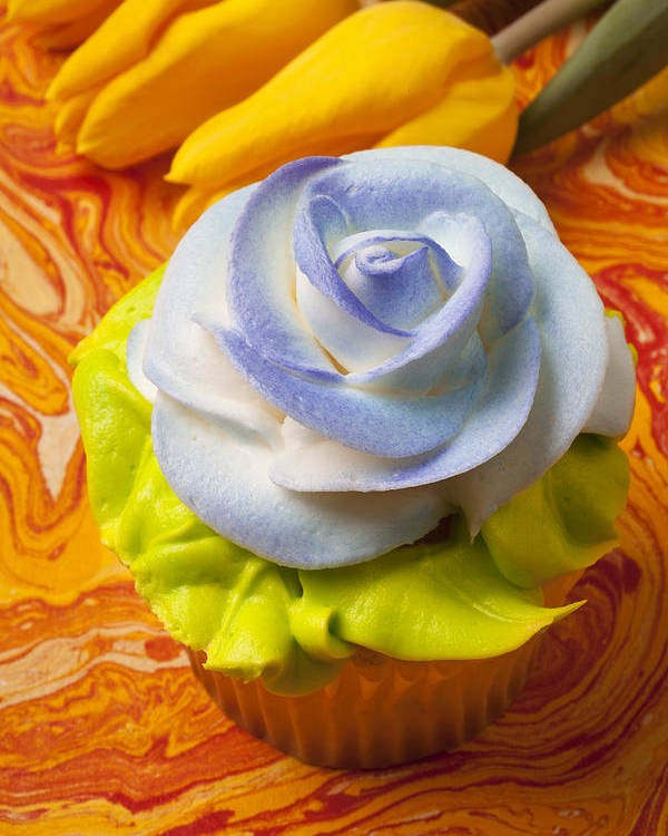 Cupcake Poster featuring the photograph Blue Rose Cup Cake by Garry Gay