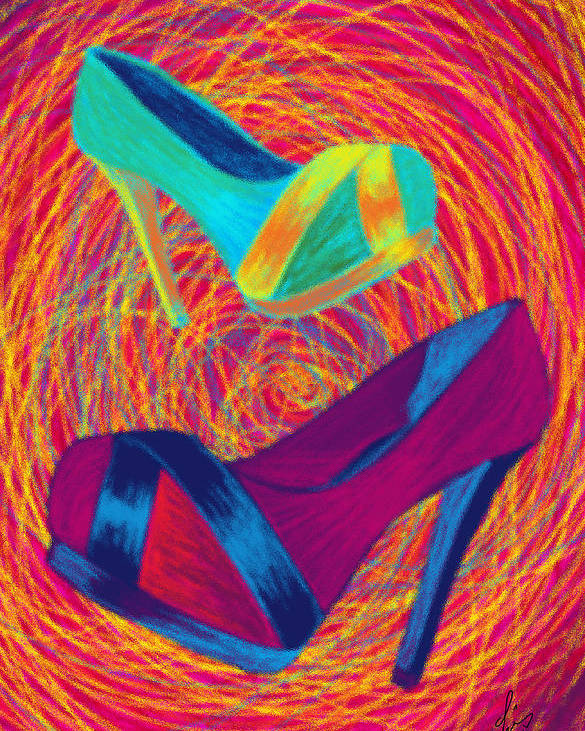 High Heels Poster featuring the digital art Blues Heels by Kenal Louis