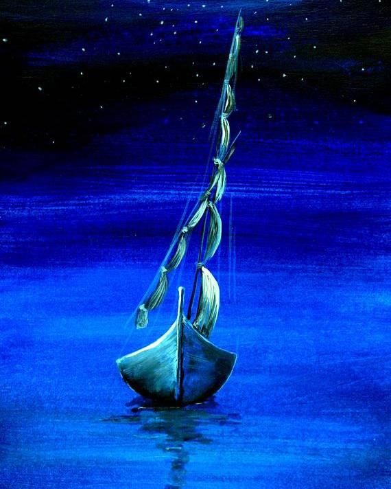 Blue Boat Poster featuring the painting Boating Early Morning by Real ARTIST SINGH