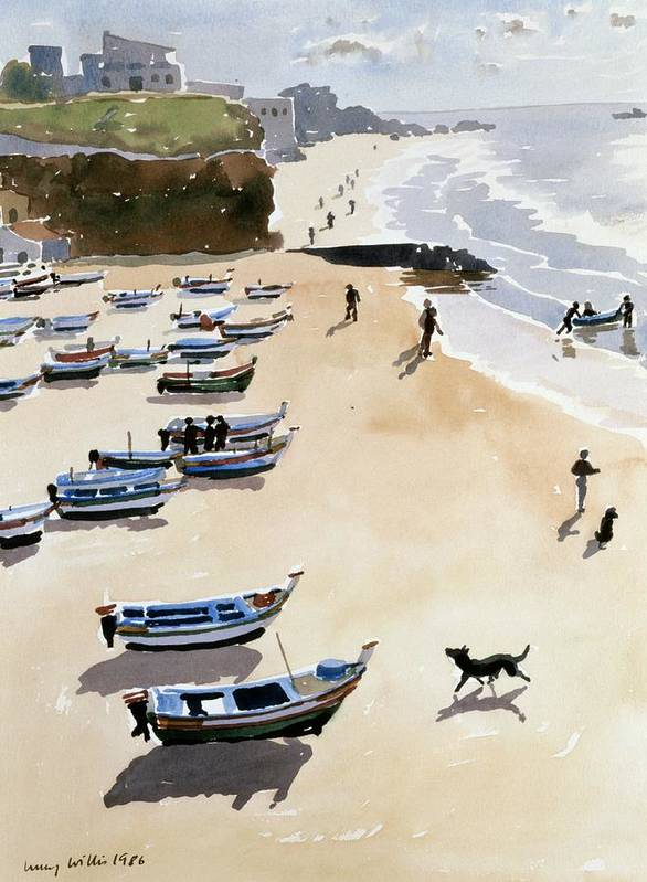 Boat; Dog; Seaside; Albufiera In Portugal; Dinghy; Family; Sea; Boats; Shore; Cliff; Portugal; Dogs; Exercise; Fishing; Coast; Coastal House; Houses; Beach; Sand; Cloud; Clouds Poster featuring the painting Boats On The Beach by Lucy Willis