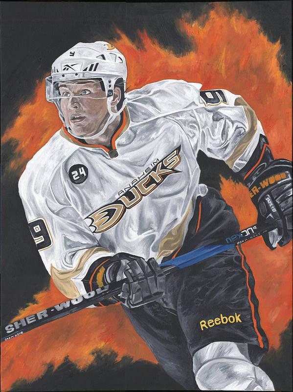 Bobby Ryan Aneheim Ducks Hockey David Courson Sports Art Painting Poster featuring the painting Bobby Ryan by David Courson