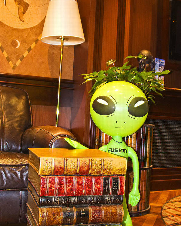 Alien Poster featuring the photograph Bookworm Alien by Richard Henne