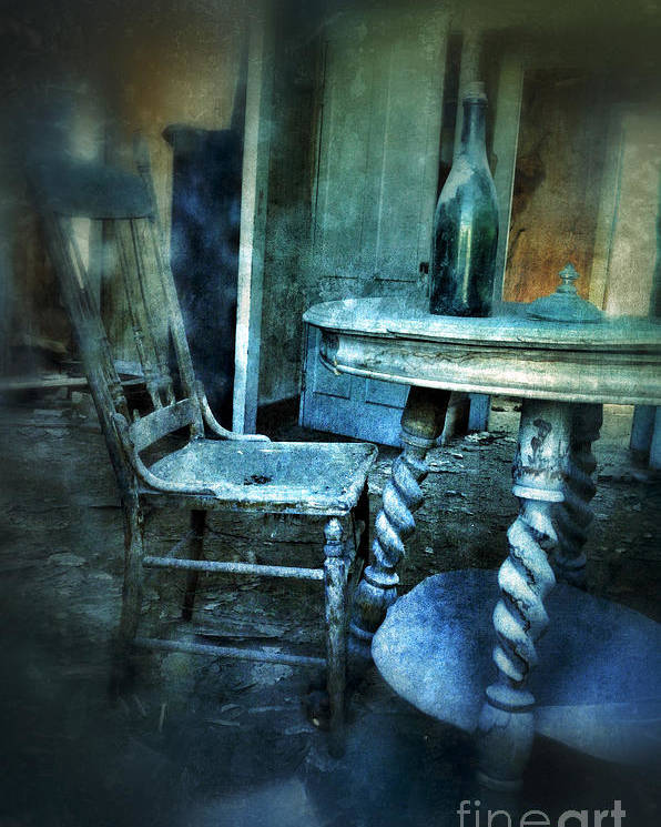 Room Poster featuring the photograph Bottle On Table In Abandoned House by Jill Battaglia