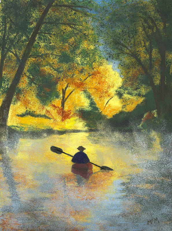 Bourbeuse River Poster featuring the painting Bourbeuse River Sunrise by Garry McMichael