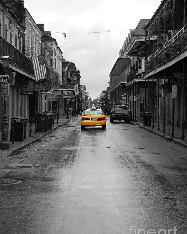 Travelpixpro French Quarter Poster featuring the photograph Bourbon Street Taxi Cab French Quarter New Orleans Color Splash Black And White by Shawn O'Brien