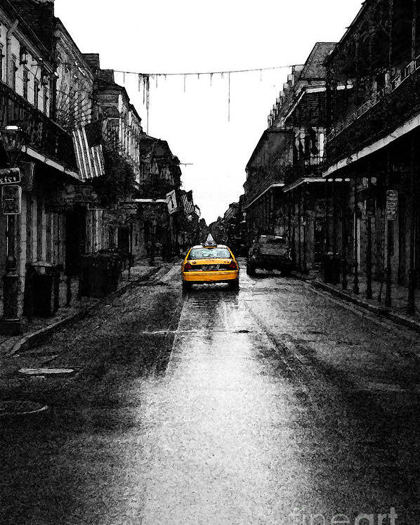 Travelpixpro French Quarter Poster featuring the digital art Bourbon Street Taxi French Quarter New Orleans Color Splash Black And White Fresco Digital Art by Shawn O'Brien