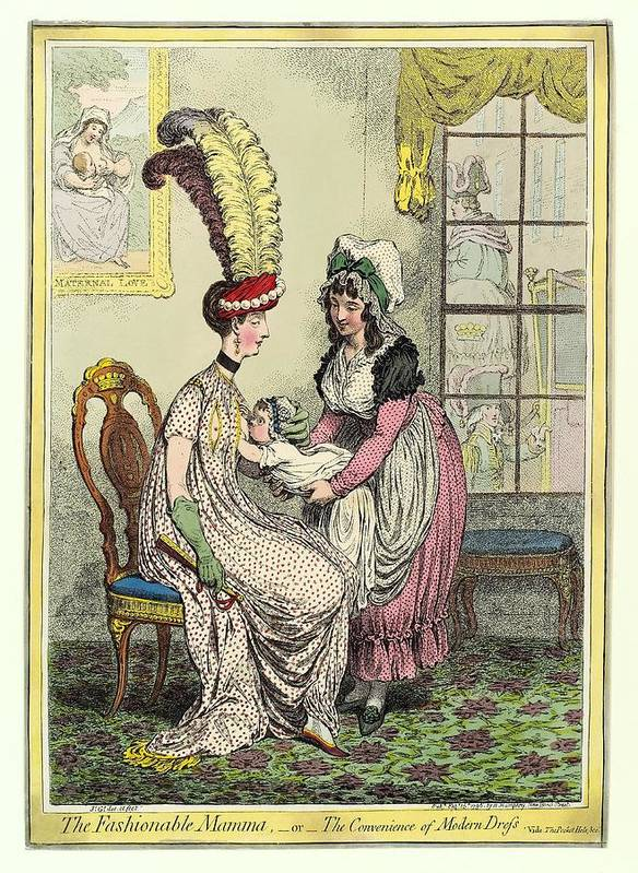 The Fashionable Mamma Poster featuring the photograph Breastfeeding, 18th-century Caricature by Miriam And Ira D. Wallach Division Of Art, Prints And Photographsnew York Public Library