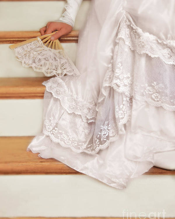 Bride Poster featuring the photograph Bride Sitting On Stairs With Lace Fan by Jill Battaglia