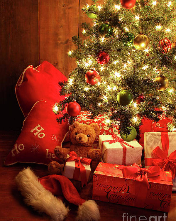 Background Poster featuring the photograph Brightly Lit Christmas Tree With Gifts by Sandra Cunningham