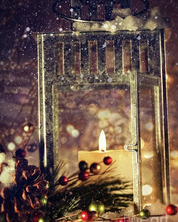 Background; Burn; Candle; Christmas; Cold; Color; Decoration; Evening; Fire; Glass; Holiday; Ice; Lamp; Lantern; Light; New; Night; Red; Season; Snow; Warm; Winter; Xmas; Year; Yellow; Santa; Claus; Snowy; Poster featuring the photograph Brightly Lit Lantern In The Snow by Sandra Cunningham