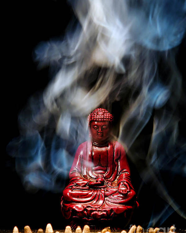 Buddha Poster featuring the photograph Buddha In Smoke by Olivier Le Queinec