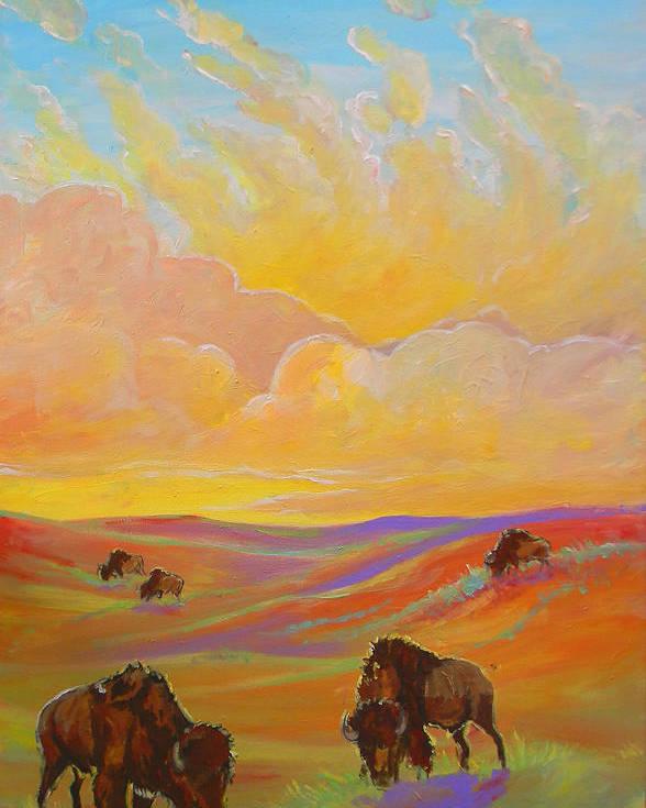 Buffalo Poster featuring the painting Buffalo Sunrise by Jenn Cunningham