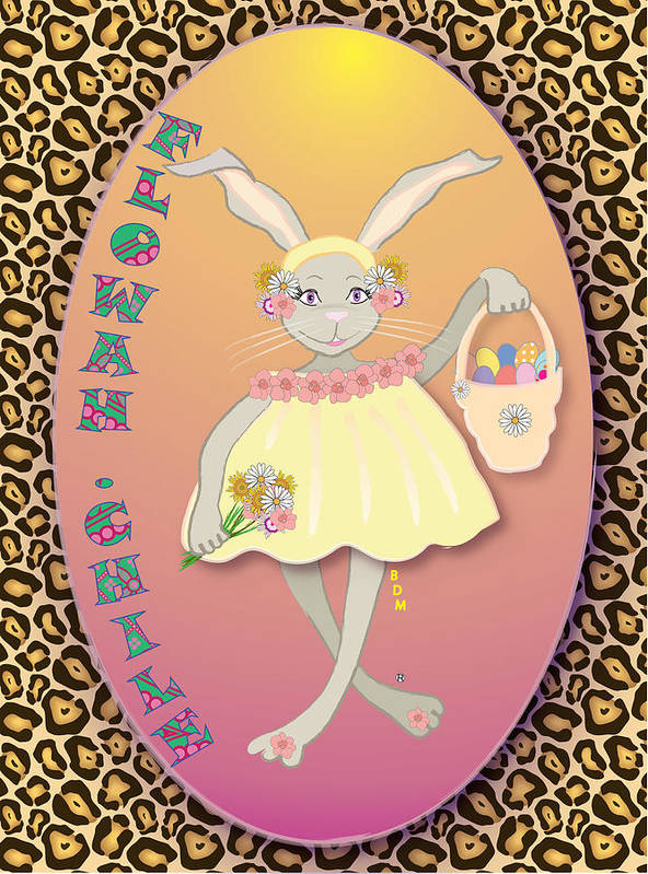 Bunnie Poster featuring the digital art Bunnie Girls- Flowah Chile 1 Of 4 by Brenda Dulan Moore