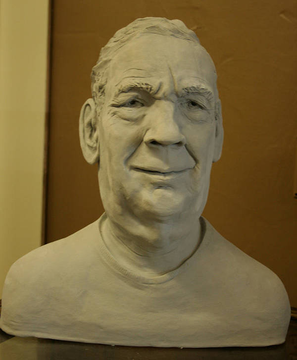 Bust Portrait Sculpture Of John J. Meyer Poster featuring the sculpture Bust Sculpture by Terri Meyer